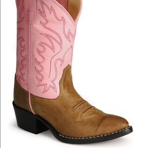 Old West boots pink and tan